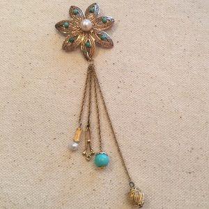 Vintage A Winard 12k GF Flower Filagree Brooch Pin